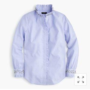 NWT J. Crew Perfect Slim fit Shirt with Jewels 12